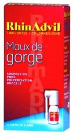 Rhinadvil maux de gorge tixocortol/chlorhexidine