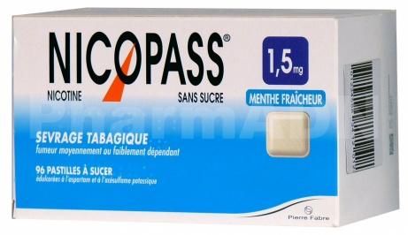 Nicopass 1,5 mg sans sucre menthe fraîcheur