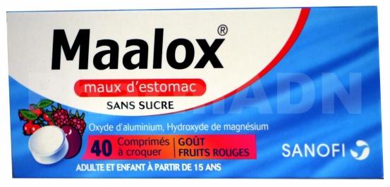 Maalox maux d'estomac sans sucre fruits rouges, comprimé à croquer édulcoré à la saccharine sodique